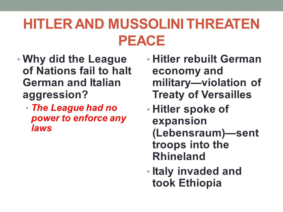 HITLER AND MUSSOLINI THREATEN PEACE
