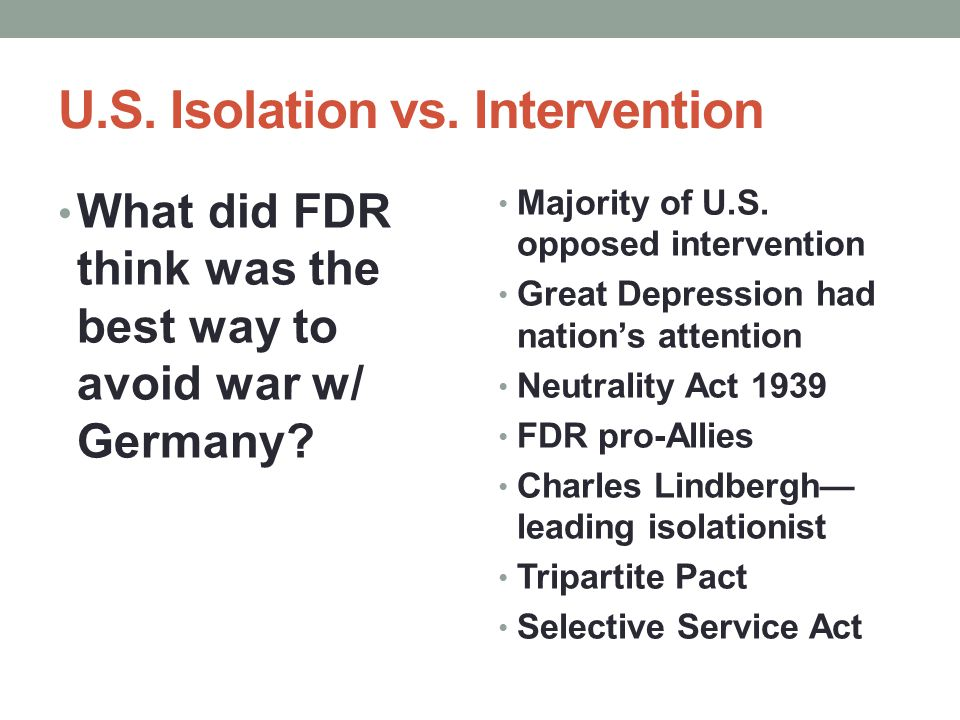 U.S. Isolation vs. Intervention
