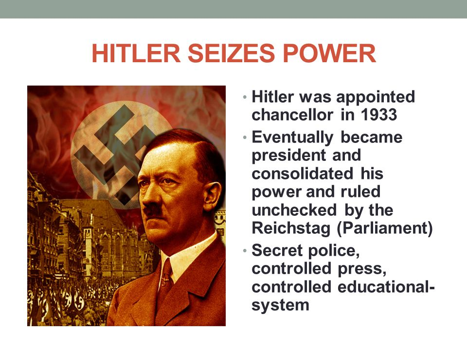 HITLER SEIZES POWER Hitler was appointed chancellor in 1933