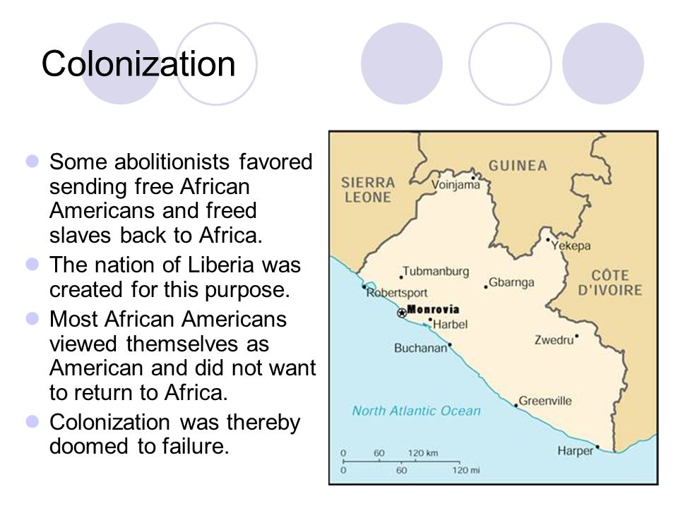 Colonization Some abolitionists favored sending free African Americans and freed slaves back to Africa.