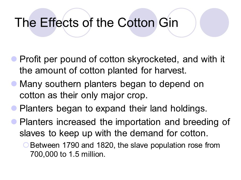 The Effects of the Cotton Gin