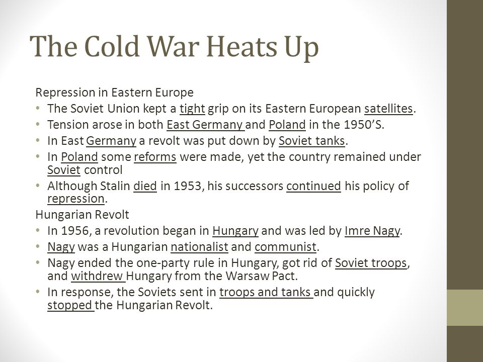 The Cold War Heats Up Repression in Eastern Europe