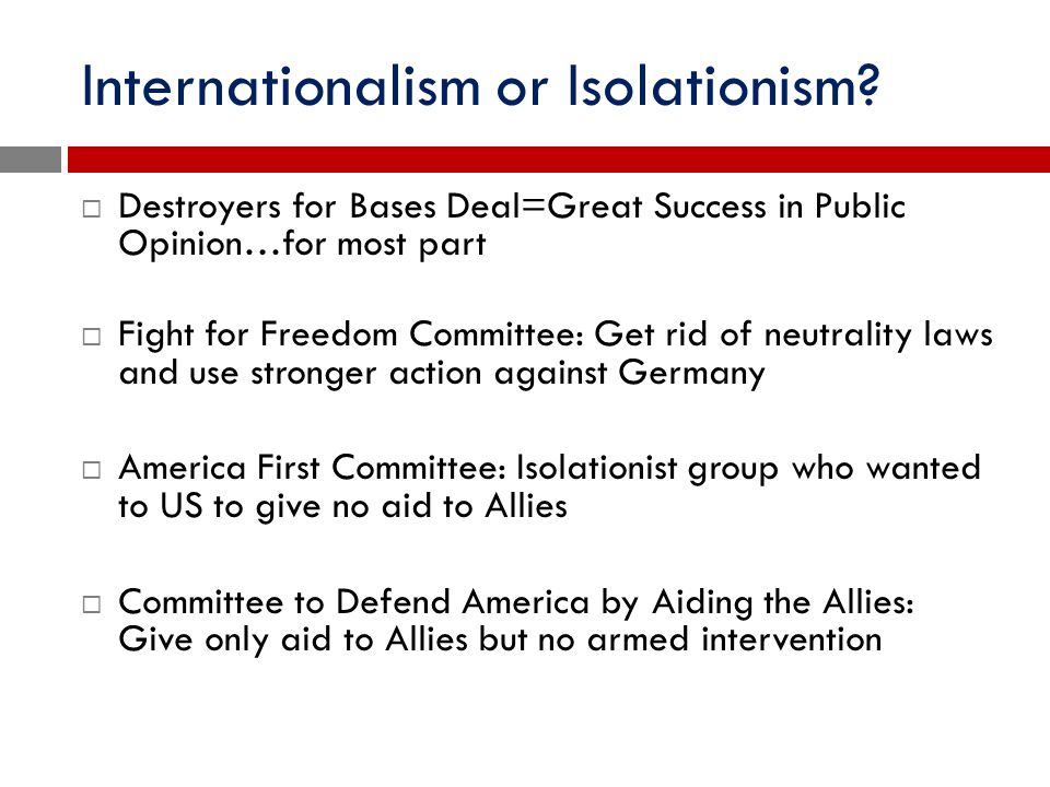 Internationalism or Isolationism