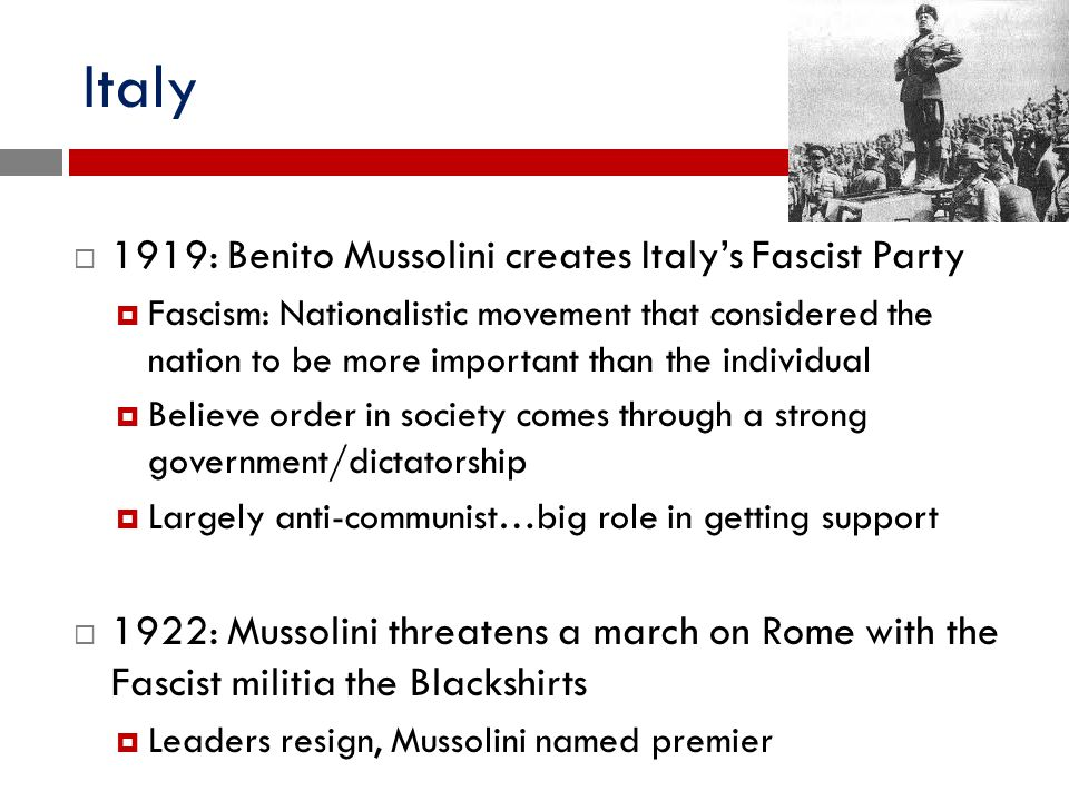 Italy 1919: Benito Mussolini creates Italy's Fascist Party