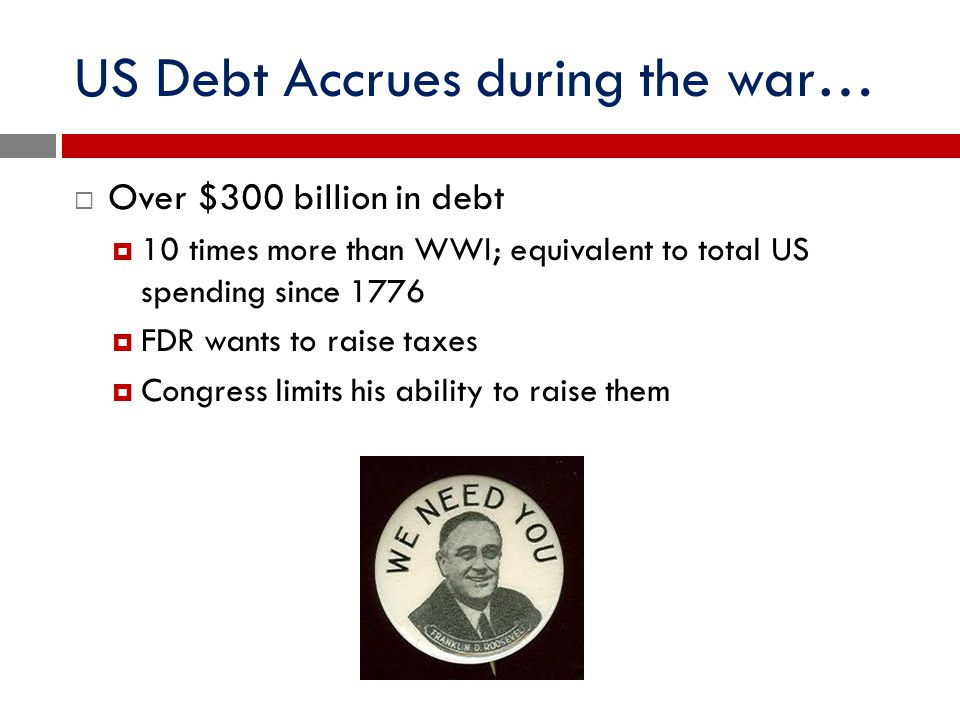 US Debt Accrues during the war…