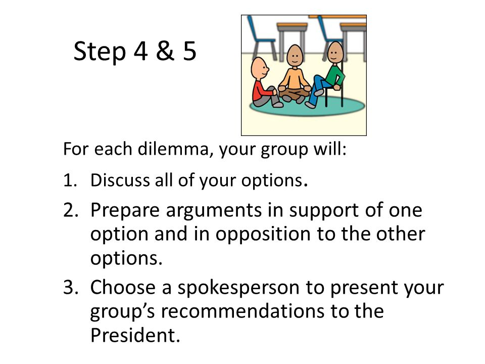 Step 4 & 5 For each dilemma, your group will: Discuss all of your options.
