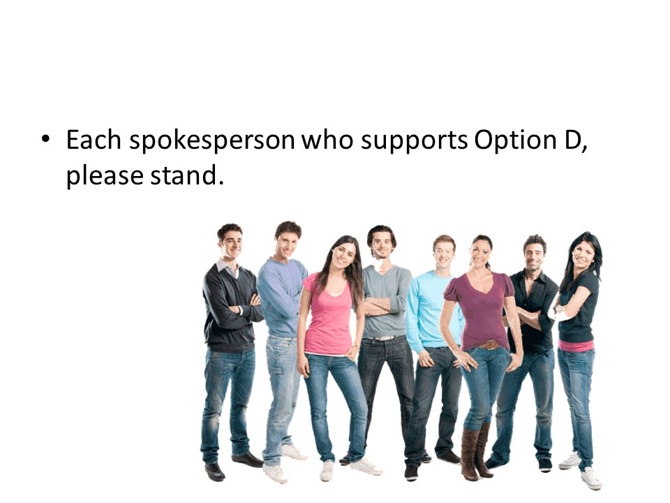 Each spokesperson who supports Option D, please stand.