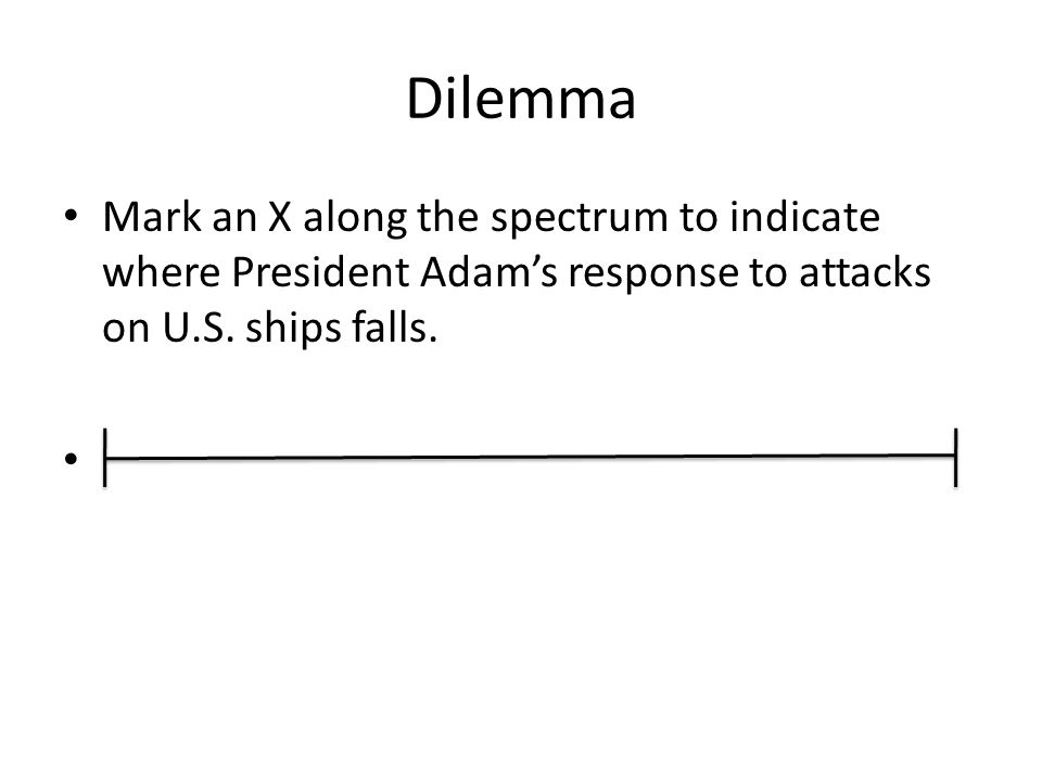 Dilemma Mark an X along the spectrum to indicate where President Adam's response to attacks on U.S.