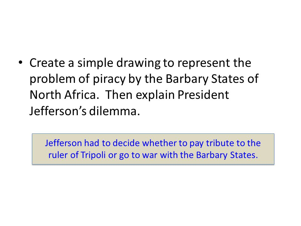 Create a simple drawing to represent the problem of piracy by the Barbary States of North Africa. Then explain President Jefferson's dilemma.
