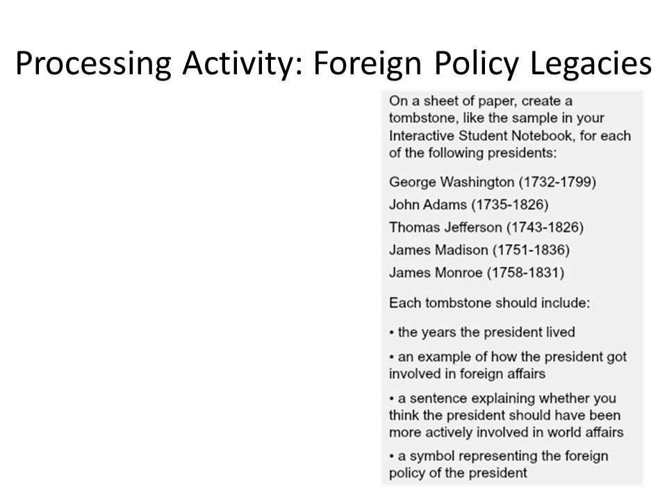 Processing Activity: Foreign Policy Legacies