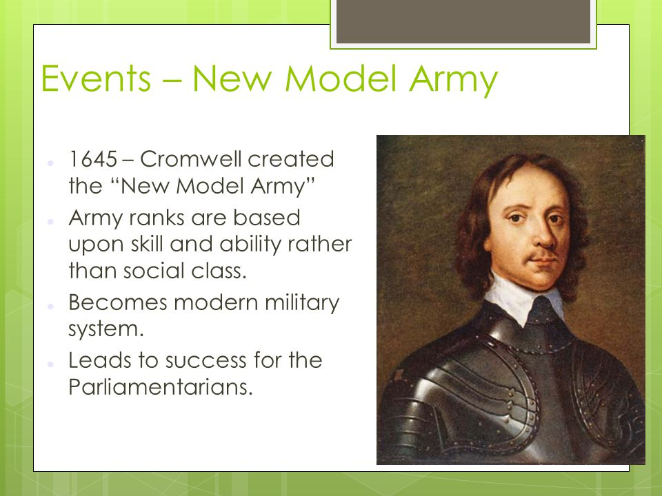Events – New Model Army 1645 – Cromwell created the New Model Army