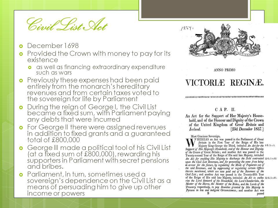 Civil List Act December 1698