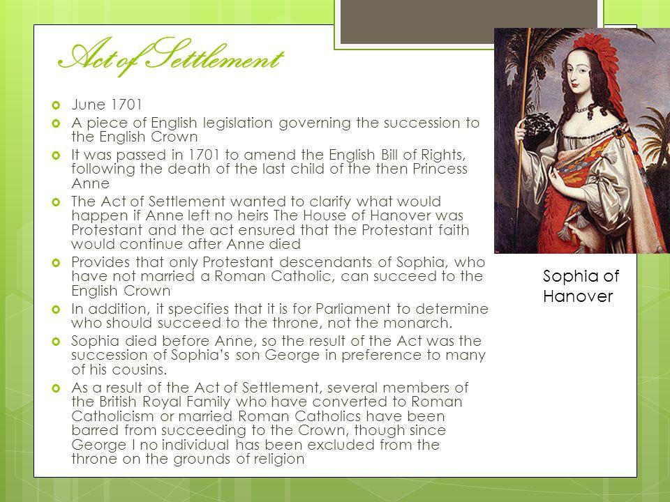 Act of Settlement Sophia of Hanover June 1701
