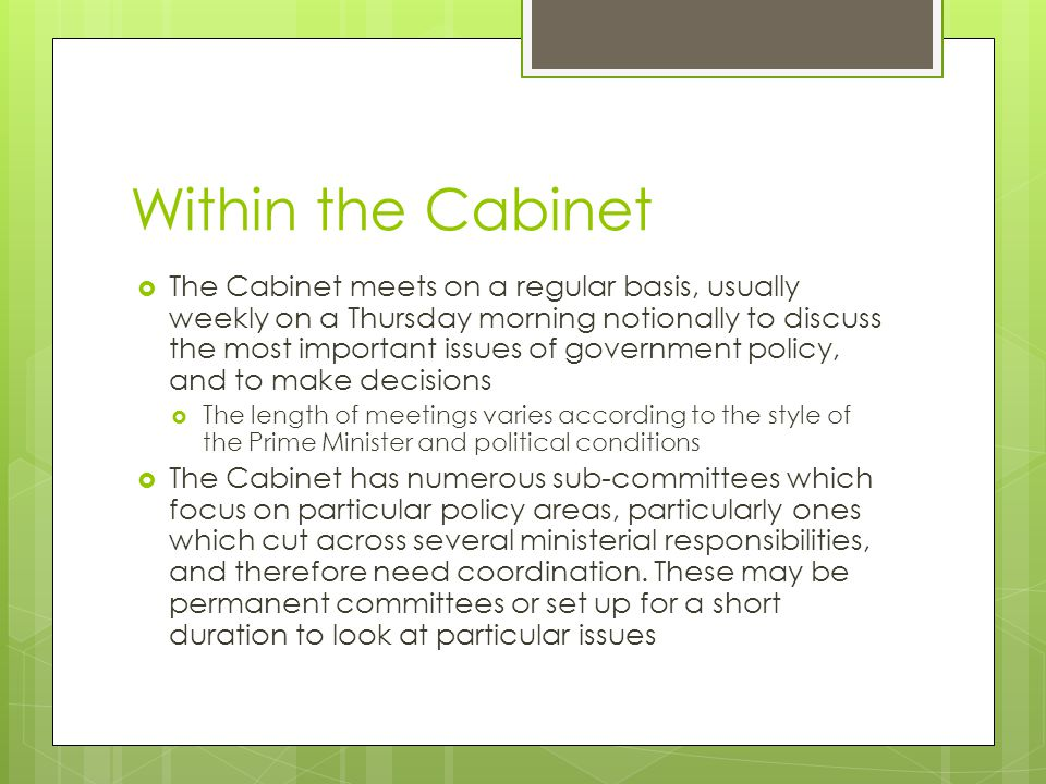 Within the Cabinet