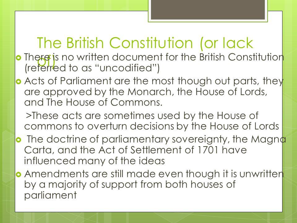 The British Constitution (or lack of)