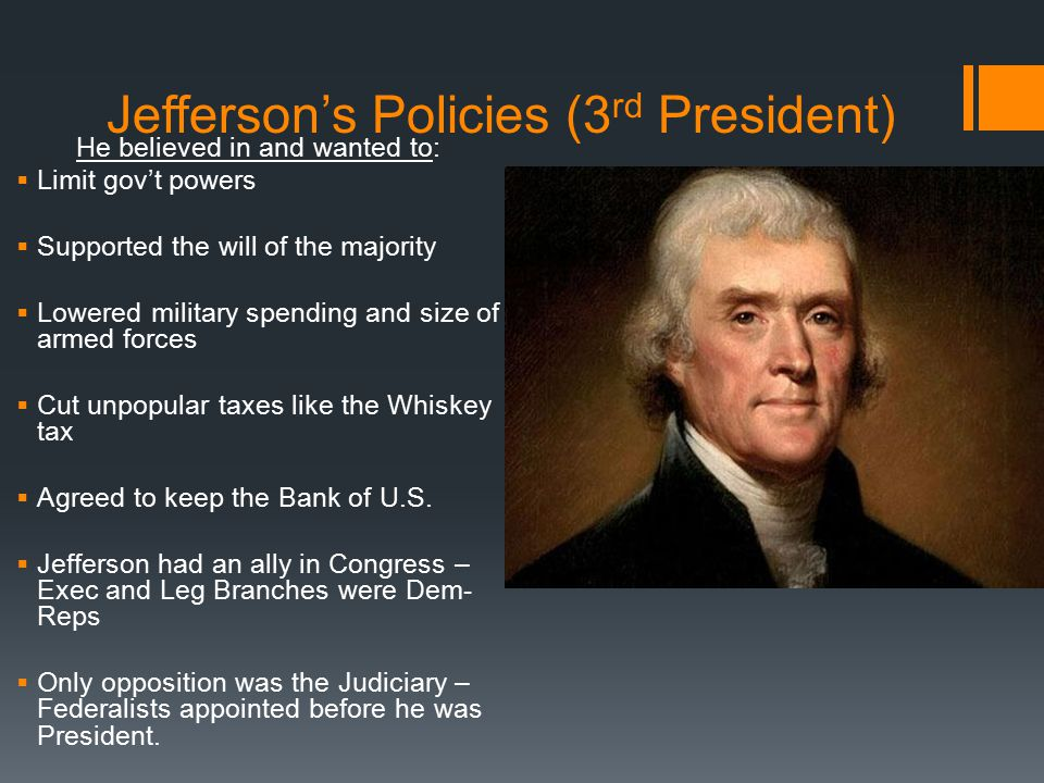 Jefferson's Policies (3rd President)