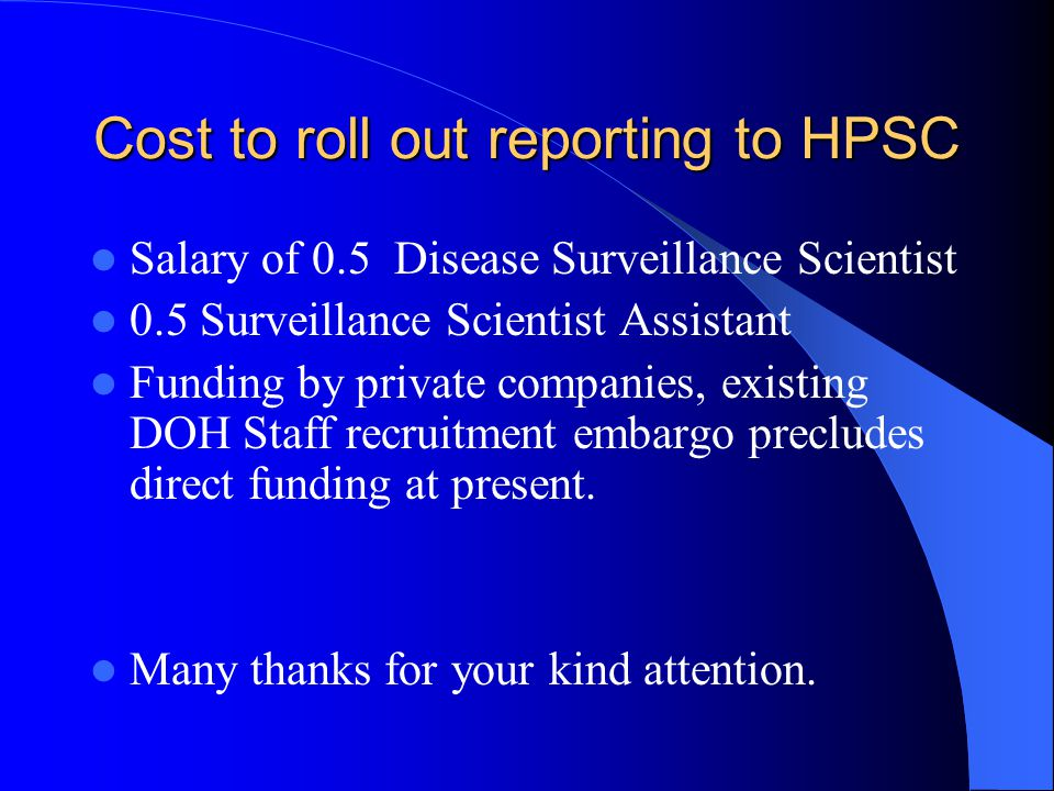Cost to roll out reporting to HPSC