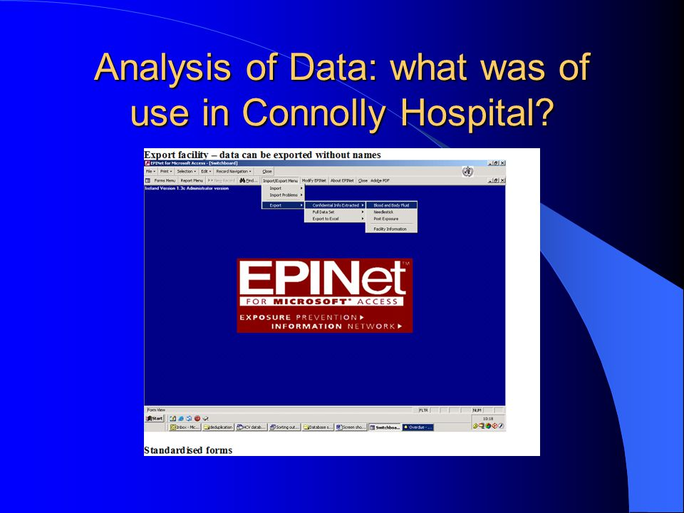 Analysis of Data: what was of use in Connolly Hospital