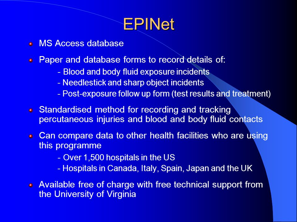 EPINet MS Access database