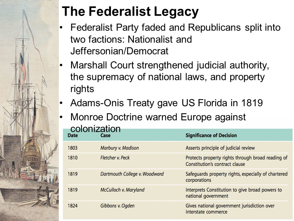 The Federalist Legacy Federalist Party faded and Republicans split into two factions: Nationalist and Jeffersonian/Democrat.