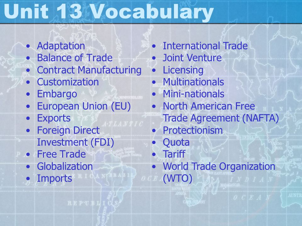 Unit 13 Vocabulary Adaptation Balance of Trade Contract Manufacturing