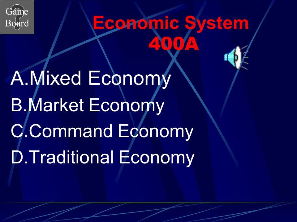 Mixed Economy Economic System 400A Market Economy Command Economy