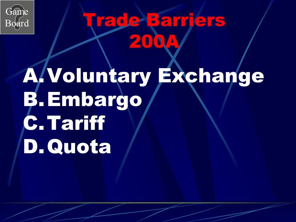 Trade Barriers 200A Voluntary Exchange Embargo Tariff Quota
