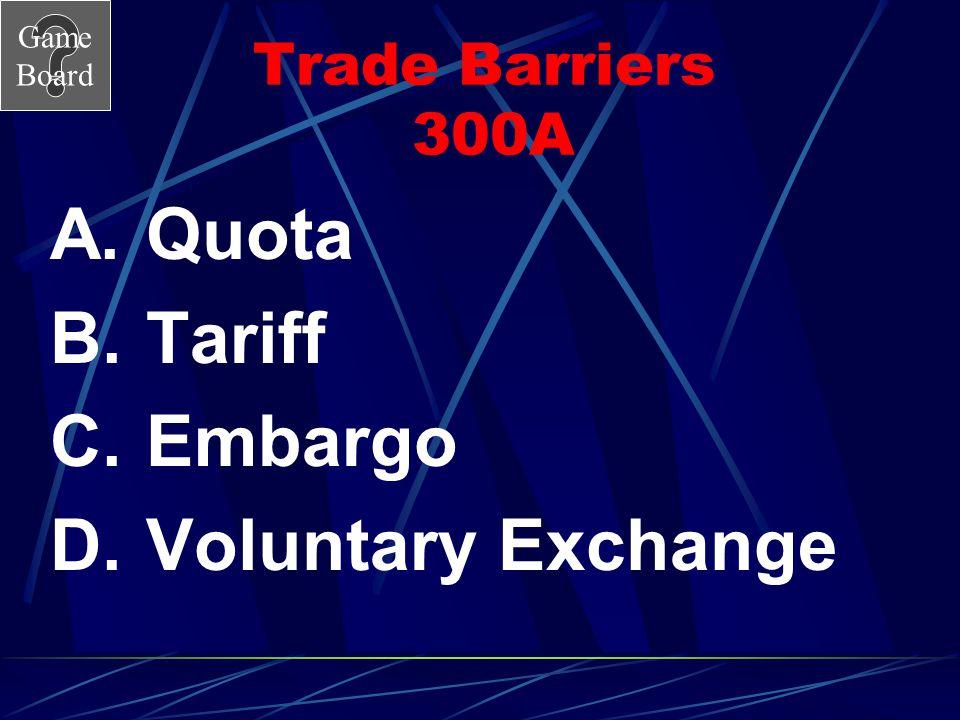 Trade Barriers 300A Quota Tariff Embargo Voluntary Exchange