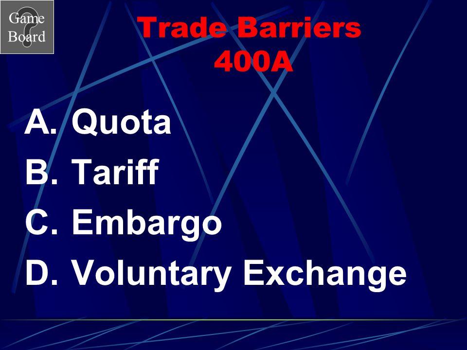 Trade Barriers 400A Quota Tariff Embargo Voluntary Exchange