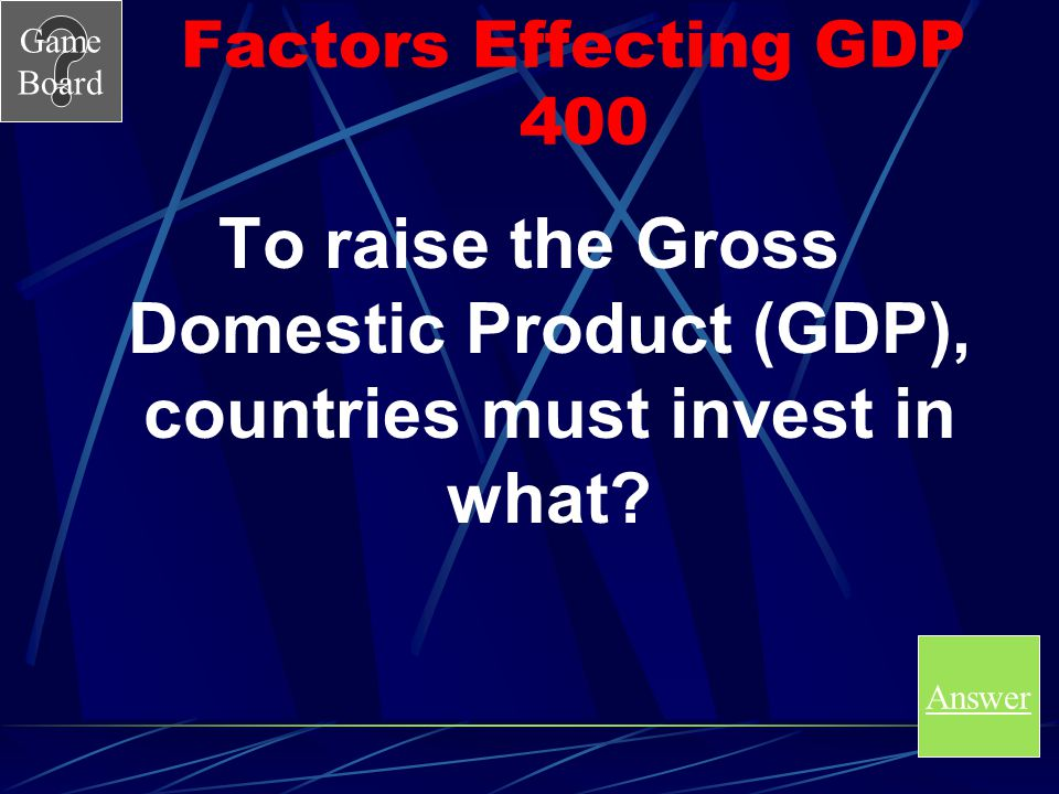 Factors Effecting GDP 400 To raise the Gross Domestic Product (GDP), countries must invest in what