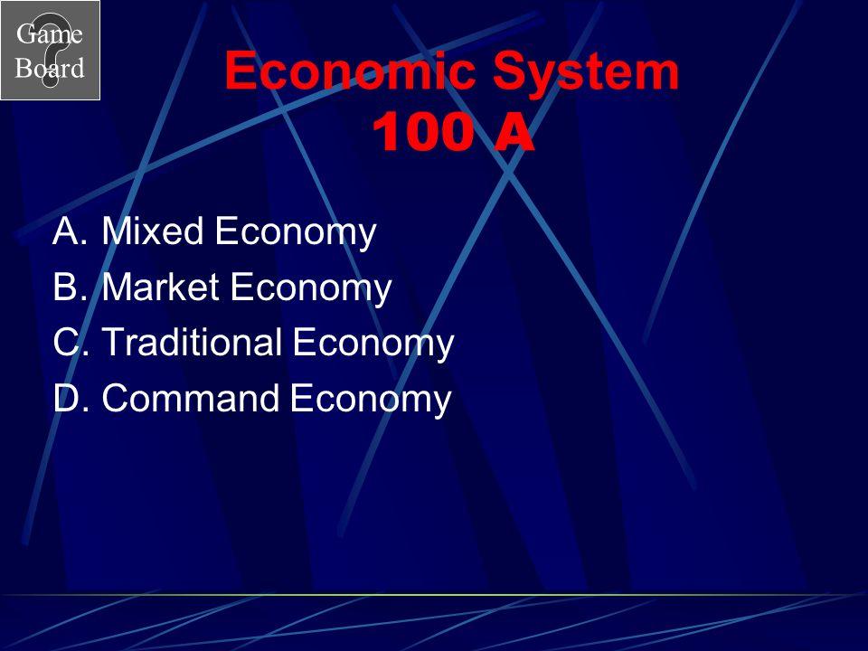 Economic System 100 A Mixed Economy Market Economy Traditional Economy