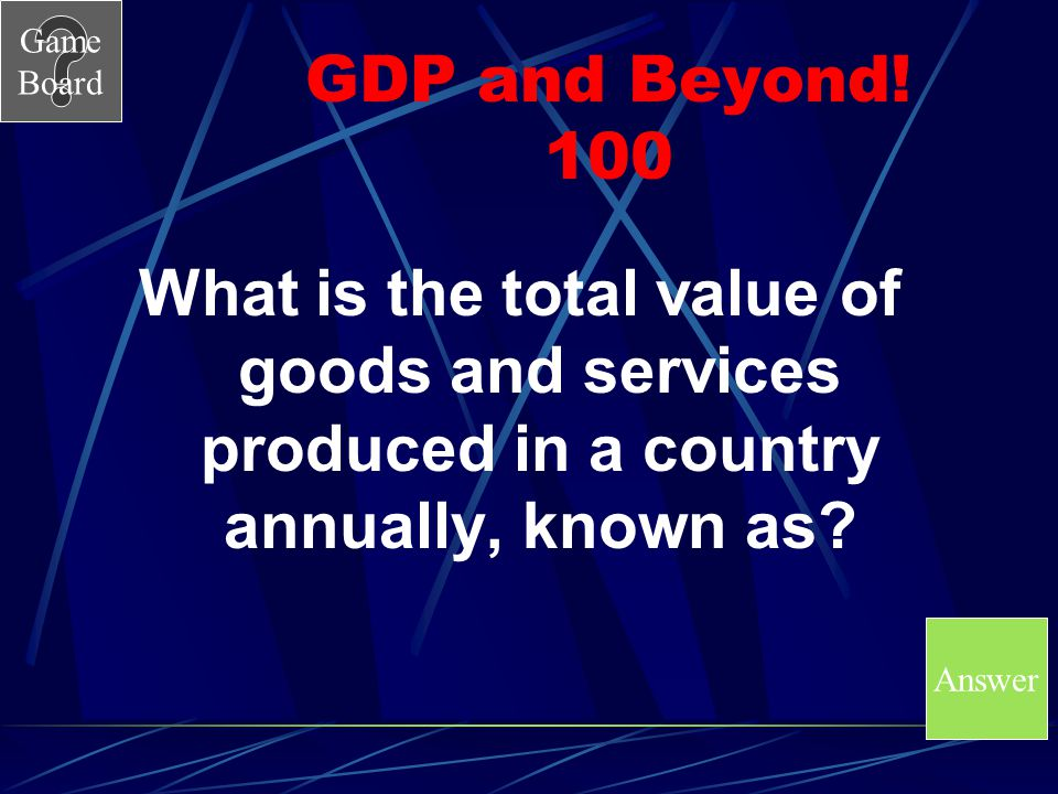 GDP and Beyond! 100 What is the total value of goods and services produced in a country annually, known as