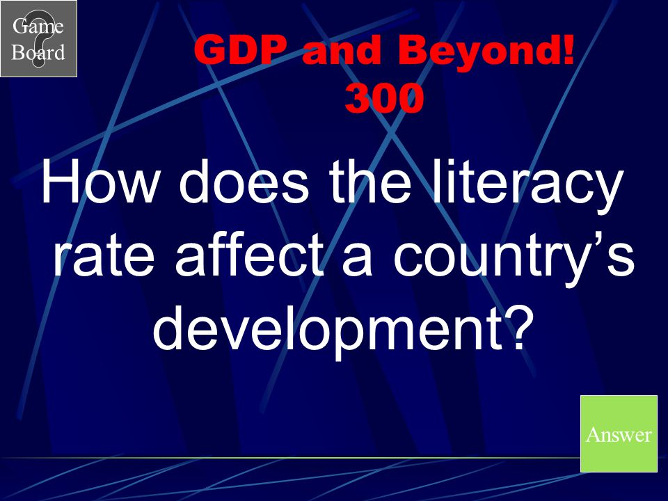 How does the literacy rate affect a country's development