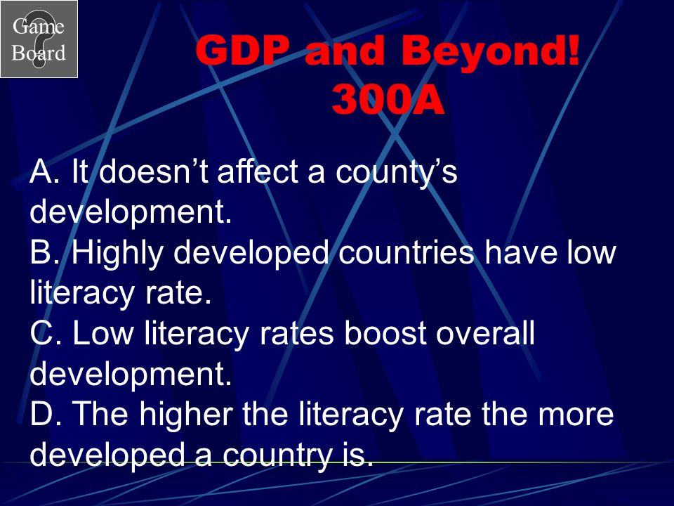 GDP and Beyond! 300A A. It doesn't affect a county's development.
