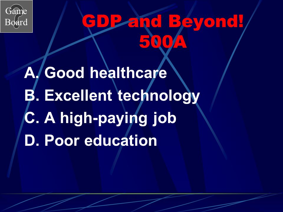 GDP and Beyond! 500A A. Good healthcare B. Excellent technology