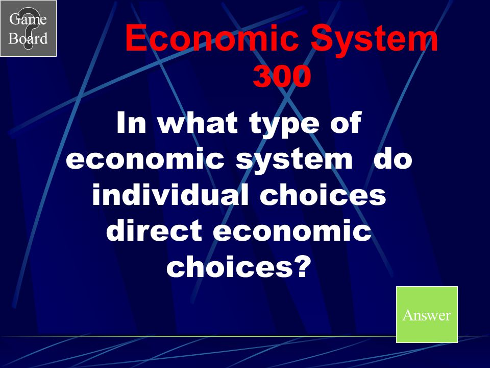 Economic System 300 In what type of economic system do individual choices direct economic choices