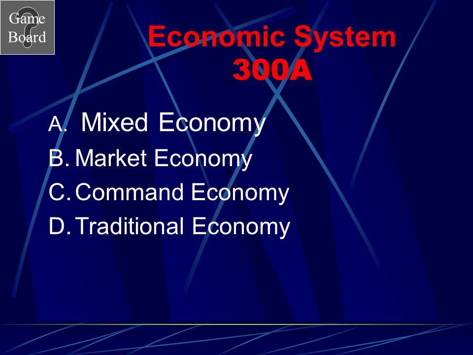 Economic System 300A Market Economy Command Economy