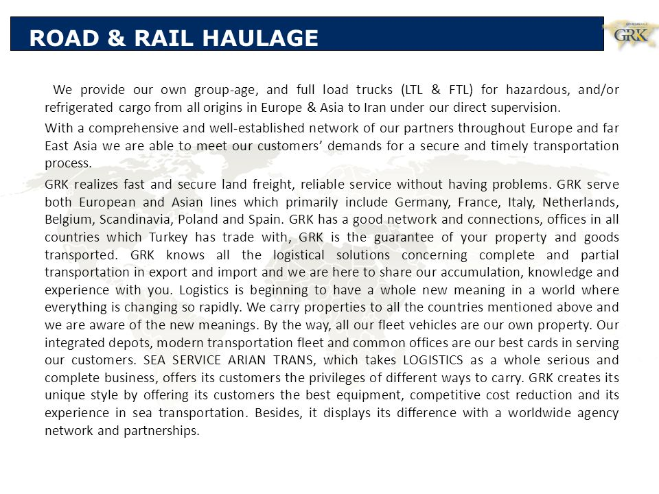 ROAD & RAIL HAULAGE