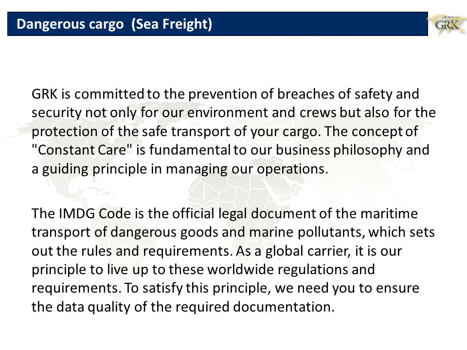 Dangerous cargo (Sea Freight)