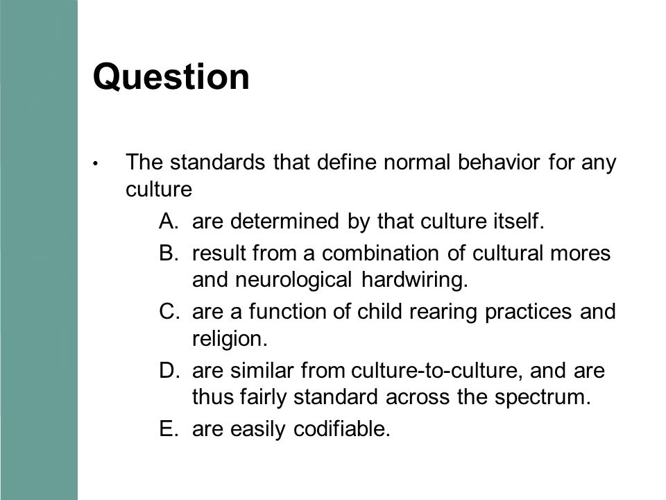 Question The standards that define normal behavior for any culture