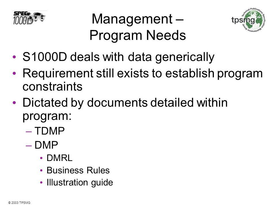 Management – Program Needs