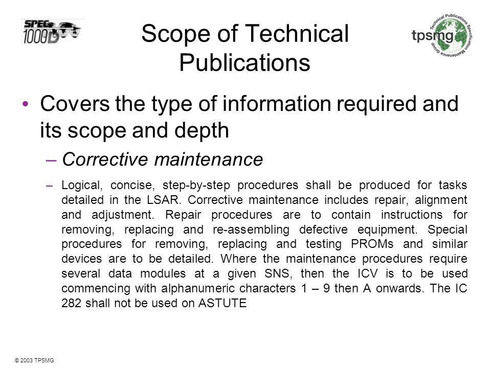 Scope of Technical Publications