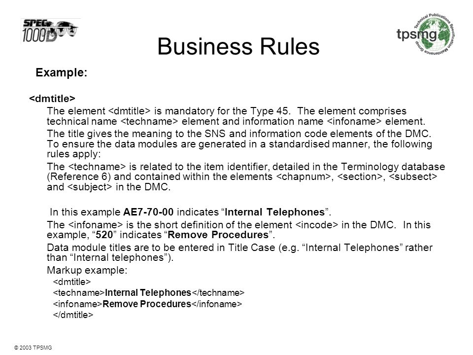 Business Rules Example: <dmtitle>