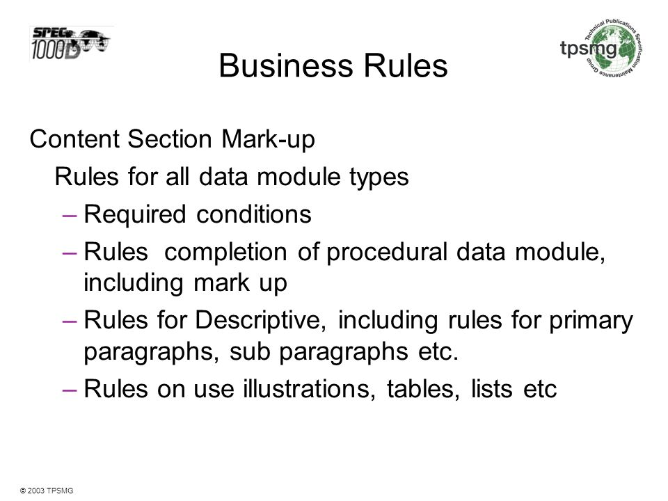 Business Rules Content Section Mark-up Required conditions