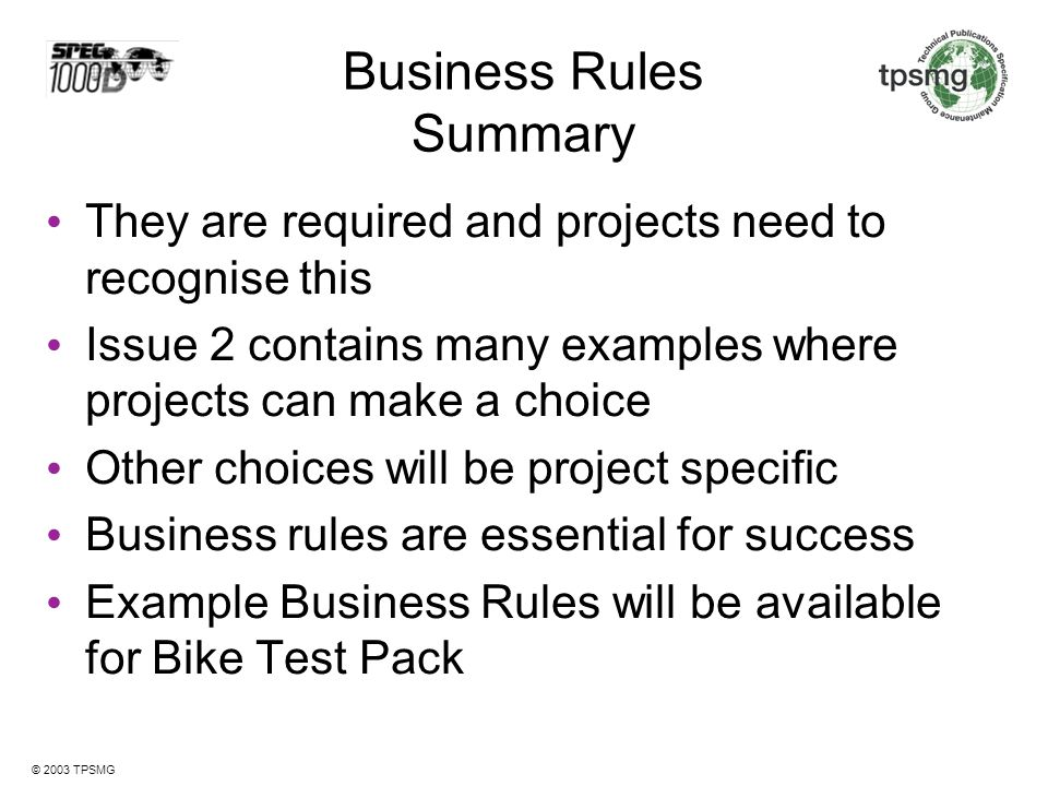 Business Rules Summary