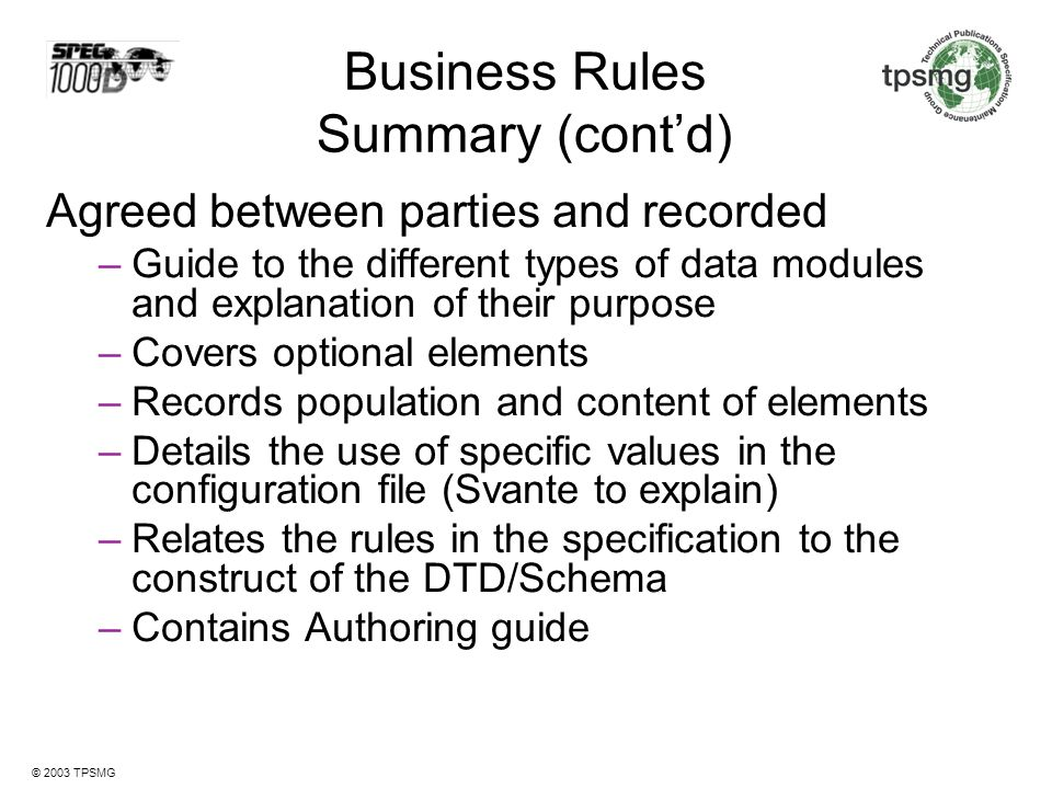 Business Rules Summary (cont'd)