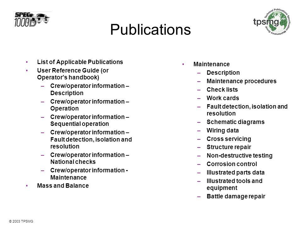 Publications List of Applicable Publications Maintenance