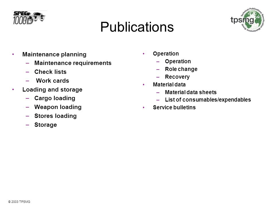 Publications Maintenance planning Maintenance requirements Check lists