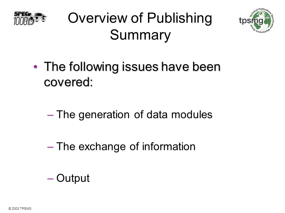Overview of Publishing Summary