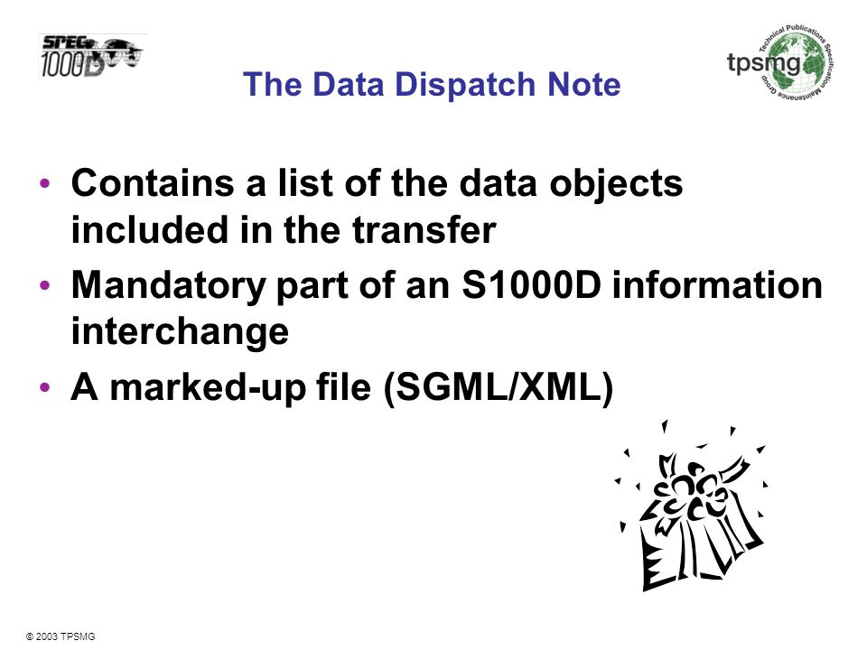 Contains a list of the data objects included in the transfer